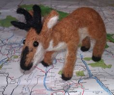 """Roger"" the Pronghorn; 2014; needle felted sculpture by Holly Boone of Polar Lights Art Studio. Currently located at the Alberta Craft Council. http://polarlightsart.wix.com/plas#!hollys-work/cq0w"