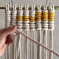 How to Introduce Color when Tying Vertical Clove Hitch Knots // Hi friends . This is a repeat video from March, but I read all the request from Wednesday and new videos are in mind. Tag a friend who may be interested in seeing this. // These are Vertical Clove Hitch Knots (Vertical Half Hitch), which are commonly used in wall hangings to create shapes and designs. I've shown this knot before, but was asked a few times how to add color(s). // This video shows them done with 8 cords which w...