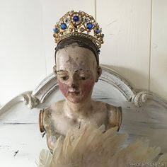 19th C. Antique Santos Gilded Brass Bejeweled Diadem Crown