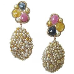 Multi-coloured sapphire and pearl earrings by J Jewels Milano
