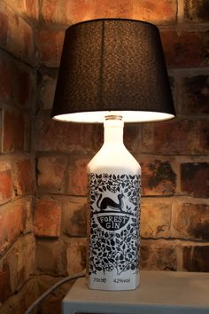 Items similar to Upcycled Forest Gin Bottle Table Lamp on Etsy Lamp, Bulb, Bottle Lamp, Gifts For Gin Lovers, Complementary Colors, Beautiful Handmade, Repurposed Lamp, Bottle, Bottle Table Lamps