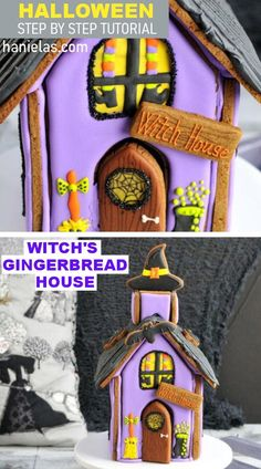 Step by step tutorial how to make fun Witch's Gingerbread House Halloween Gingerbread House, Gingerbread House Template, Gingerbread Dough, Witch Hat Cookies, Cat Cookies, Days Till Halloween, Halloween Tricks, Royal Icing Templates, Cookie House