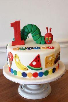 Very Hungry Caterpillar Custom Cake - # kuchen Birthday Themes For Boys, Baby Boy First Birthday, First Birthday Parties, 1 Year Old Birthday Cake, Birthday Ideas, Boys First Birthday Cake, Birthday Banners, 1st Birthdays, Birthday Invitations