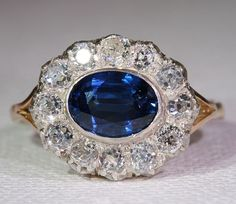 French Edwardian Sapphire and Diamond Cluster RIng, 18k Gold Silver Set $5,800, Now 4,640.00 - RubyLane.com (03.03.13)