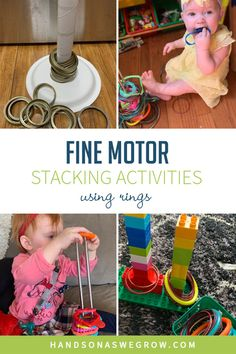 All you need is a standing paper towel holder and circular objects from around the house to make this easy DIY ring stacking toy for toddlers and babies fine motor activities at home.