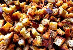 Fűszeres kenyérkockák - crouton Sweet Potato, Potatoes, Vegetables, Recipes, Food, Potato, Veggies, Rezepte, Essen