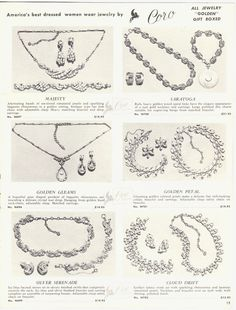 1950'S CORO JEWELRY AD BRACELET EARRINGS NECK CHAIN COSTUME JEWELRY