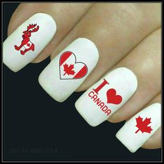 Items similar to Nail Decal Canada Day Nail Art 20 Water Slide Decals Canadian Nail Tattoos Nail Transfers Finger Nails on Etsy Fun Nails, Nice Nails, Canada Day, Nail Decals, Water Slides, New Tattoos, Nail Art, Unique Jewelry, Handmade Gifts