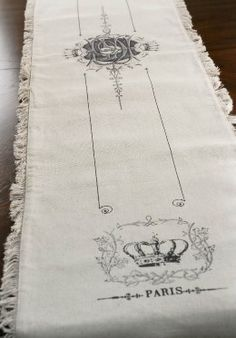 Parisian Table Runner with Frayed Edges