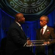 President of Phi Beta Sigma, Bro. Johnathan Mason greets his Fraternity brother, Rev. Al Sharpton as they celebrate 100 years of the Phi Beta Sigma Fraternity Brotherhood. Sorors of Zeta Phi Beta Sorority, Incorporated celebrated with their Sigma brothers during the 2014 Boule