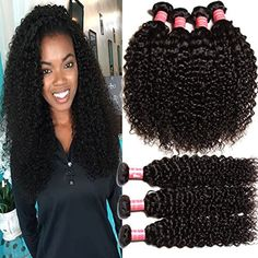 KLAIYI Brazilian Curly Hair 3 Bundles 12 14 16inch 6A Grade Virgin Human Hair Extensions Natural Color 95100gpc -- More info could be found at the image url.