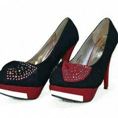 Wild Rose Maroon and Black Heels- size 7 Wild Rose Maroon and Black Heels- size 7 Wild Rose Shoes Heels