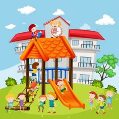 Students playing at the playground in sc. Cartoon Picture, Cartoon Pics, Gif Videos, Grammar Book, Vector Photo, Playground, Children, Kids, Vector Free