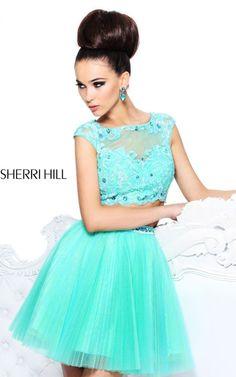 Aqua Sherri Hill 21154 Two Piece Pleated Prom Dress