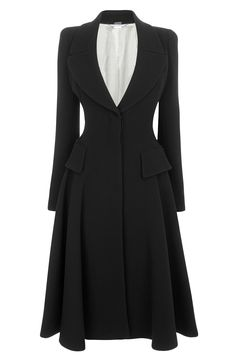 Alexander McQueen Black Crepe Wool Riding Coat-  love to see Kate wear this at the Order of the Garter (or some other Royal Event when she gets to ride in a carriage with a fabulous hat) but in a different colour way. £2,340.00