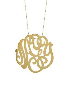 Large Lace Monogram Necklace - Yellow Gold