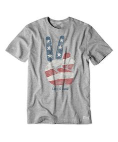 Loving this Heather Gray Stars & Stripes Peace Crusher Crewneck Tee on #zulily! #zulilyfinds