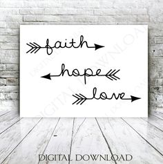 Faith Hope Love Arrow Quote Vector Digital Design Download - Ready to use Digital File, Vinyl Design Saying, Printable Quotes, home wall art by ExpressionsDigital on Etsy