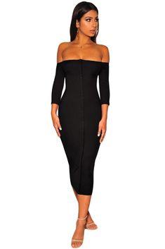 Black Off Shoulder Bodycon Cocktail Midi Dress