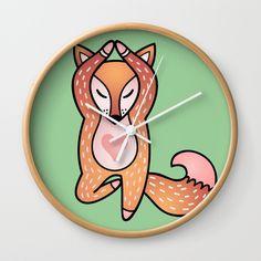 Yoga lover Fox Wall Clock by Salome | Society6