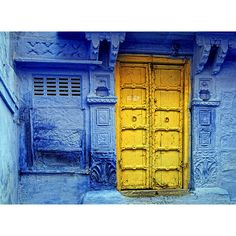 Yellow door and Blue wall ❤ liked on Polyvore featuring backgrounds