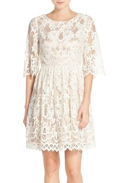 Eliza J Bell Sleeve Lace Fit & Flare Dress available at #Nordstrom
