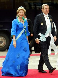 King Constantine II of Greece with Queen Anne Marie of Greece at the wedding of Crown Prince Frederik and Crown Princess  Mary of Denmark.