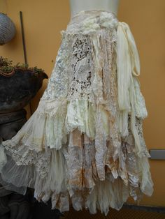 vintage inspired extra shabby wrap skirt/shawl...a work of art