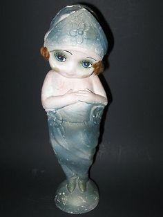 "Vintage 13"" Tall Carnival Chalk Ware Statue 1920s Flapper Kewpie Doll Girl | eBay"