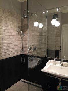 Интерьер ванной в серых тонах, ванная с душевой