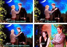 Ellen Degeneres deserves some kind of amazing award. She made Kristen Stewart smile. She is a miracle worker.