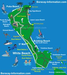 Boracay, Philippines: Map reference for for water activities and jetty port Philippines Vacation, Les Philippines, Boracay Philippines, Philippines Beaches, Philippines Culture, Boracay Island, Philippine Map, Philippine Holidays, Viajes