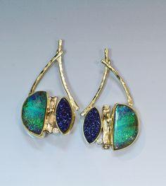 Boulder opal, diamond, & drusy earring in 22k & 18k gold.