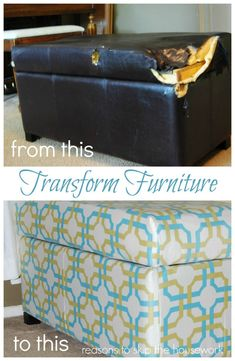 A beautiful fabric can turn a beat up old piece of furniture into something brand new! We love how Reasons To Skip The Housework used Waverly fabric to transform this ottoman! is part of Repurposed furniture Ottoman - reasonstoskipthehousework com site Furniture Showroom, Furniture Projects, Furniture Makeover, Home Projects, Diy Furniture, Street Furniture, Furniture Websites, Furniture Reupholstery, Furniture Buyers