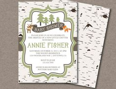Birch Woodland Forest Animal Birthday Party or Baby Shower Printable Invitation