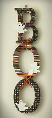 scrapbooking paper and wooden letters. Would love to put something together for my craft room with this idea Halloween Crafts, Halloween Decorations, Boo Sign, Craft Blogs, Wooden Letters, Kids Wood, Scrapbook Paper, Wood Crafts, Wreaths