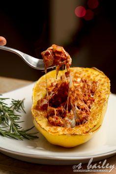 Spaghetti Squash Boats.  Just remove the cheese and it's paleo.