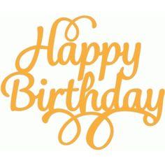Silhouette Design Store - View Design #49633: happy birthday script swirl