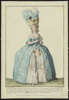 "Gallerie des Modes, 1778.  ""Jeune dame coeffee au herisson…""    Looks like a robe a la polonaise that has not been gathered up, over a mismatched petticoat"