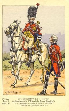 French; Imperial Guard, Gendarmes d'Elite, Trumpeter, Tenue de Route & Tenue de Service, 1804-06