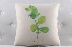 Green Plant Herbs - Oregono Throw Pillow Cover