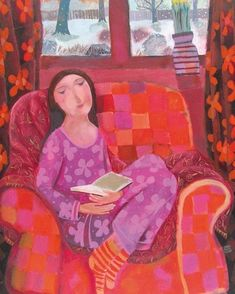 """Green Pebble on Instagram: """"'A Pink Pyjama Day' by #painter Sharon Marie Winter @sharonmariewinter Blank Art cards Published by Green Pebble Available Online:…"""" Pajama Day, Art Projects For Adults, Girl Reading, Australian Art, Naive Art, Mothers Day Cards, Artist At Work, Art Dolls, Illustration Art"""