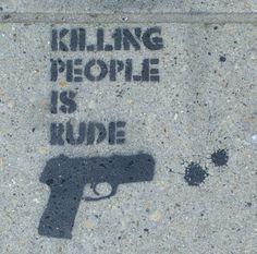 Stenciled graffiti on the sidewalks of Chicago.