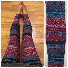 lularoe leggings   New Lularoe Pink Blue Aztec Layer Triangle Legging One Size OS~UNICORN ...