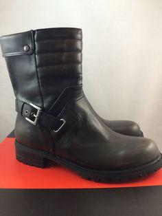 32503d0de8956c New Womens Mid Calf Biker Boots Size 8 G By Guess Netty Black Slip On  Buckles