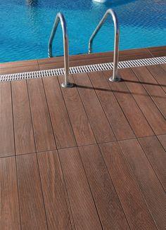 Porcelain wood-look tiles for outdoor