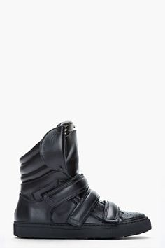 Dsquared2 Black Leather Shin Guard Sneakers for men | SSENSE