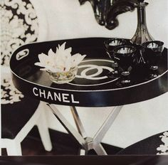 chanel tray turned side table, black and white, black leather, Blake Lively, Chanel Chance, #CHANEL, Chanel No. 5 Paris, classic, Coco Before Chanel, Coco Chanel, Coco Mademoiselle, couture, designer, designer apparel, designer bag, designer label, eau de parfum, haute couture, fashion, fashion show, francais, France, French fashion, Karl Lagerfeld, Kristen McMenamy, logo, luxury, muse, runway, parfum, Paris, quilted, purse, Rue Cambon, tweed