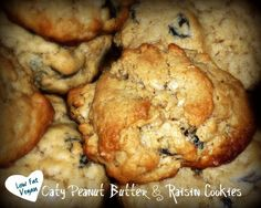 Healthy Oatmeal Peanut Butter Raisin Cookies: 1/4 cup unsweetened applesauce   1/2 cup natural crunchy peanut butter   1 cup ground (quick) oats*   1 tsp baking powder   1 tsp ground cinnamon   1 cup rolled oats   1/2 cups raisins   Stevia to taste (may be omitted or substitute sugar or Agave Nectar)