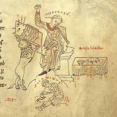 "Medieval illuminator Hildebert throws a sponge at an intrusive mouse: ""Wretched mouse, provoking me so often to anger"""